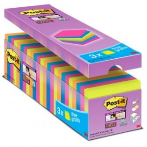 Bloczki samop. POST-IT® Super Sticky (654-SS-VP24COL), 76x76mm, 24x90 kart., mix kolorów, 3 bloczki GRATIS